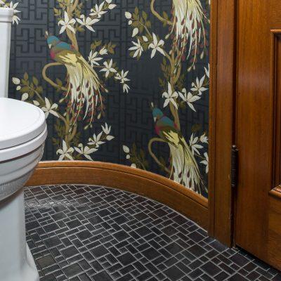 Silver Asian Bathroom Floor Mosaic Multi Mix Round Corner