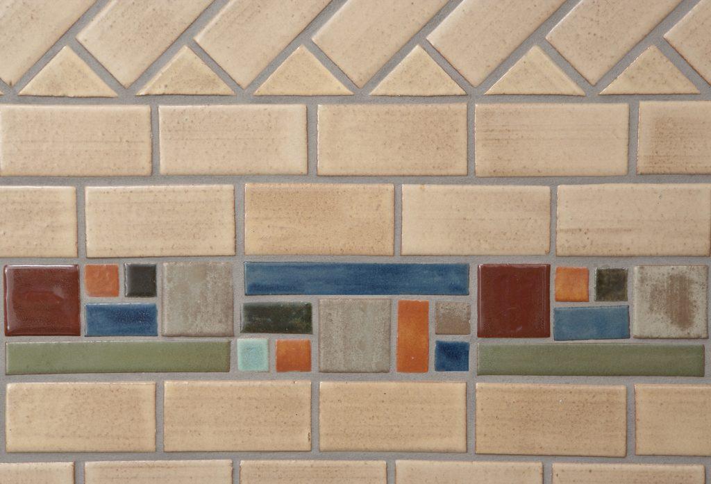 Oatmeal Modern Kitchen Tile Border Boadway Close Up