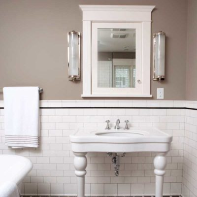 FE Flat Edge Avalon White Subway 3x6 Tile Greek Key Sink With Floor Trim