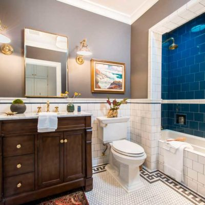 FE White Blue Victorian Subway Tile Bathroom