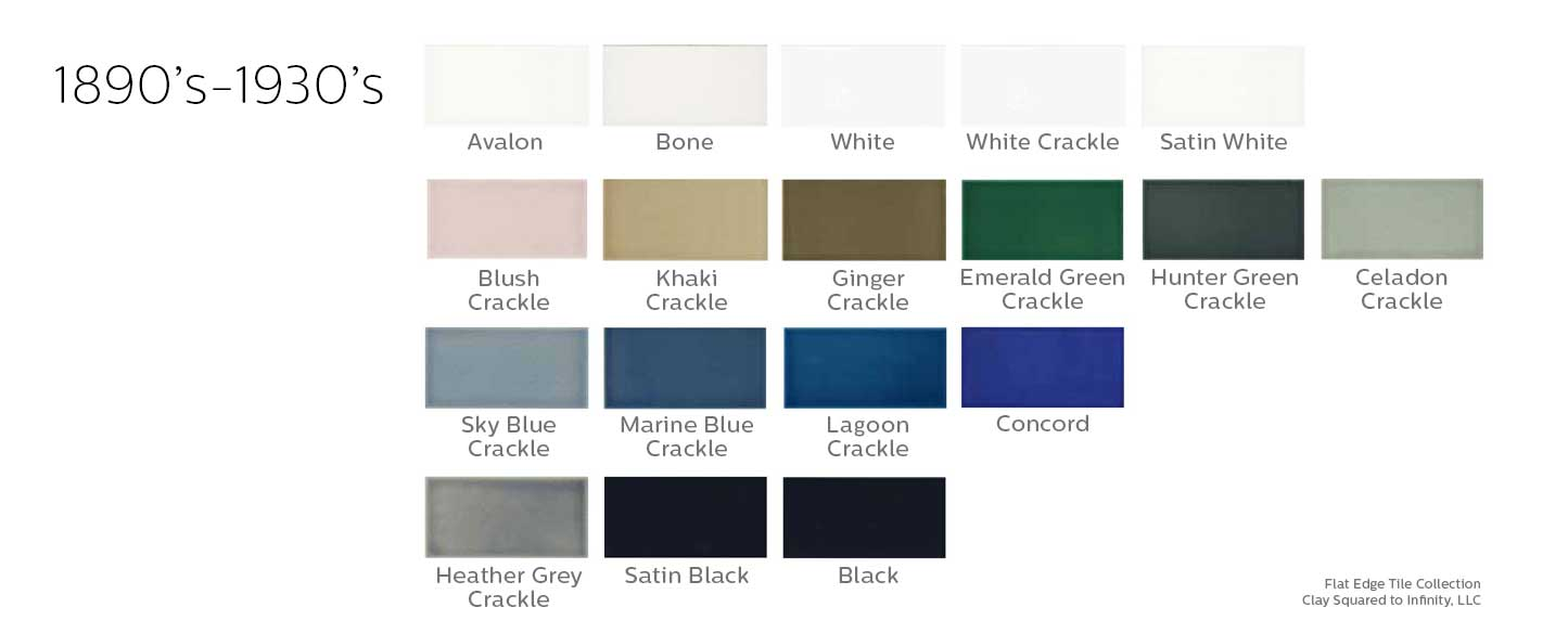 Flat Edge Tile Collection Color Chart
