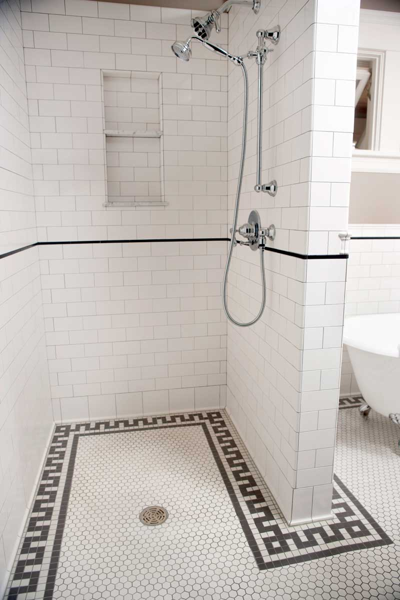Mosaic Floor Tiled Shower