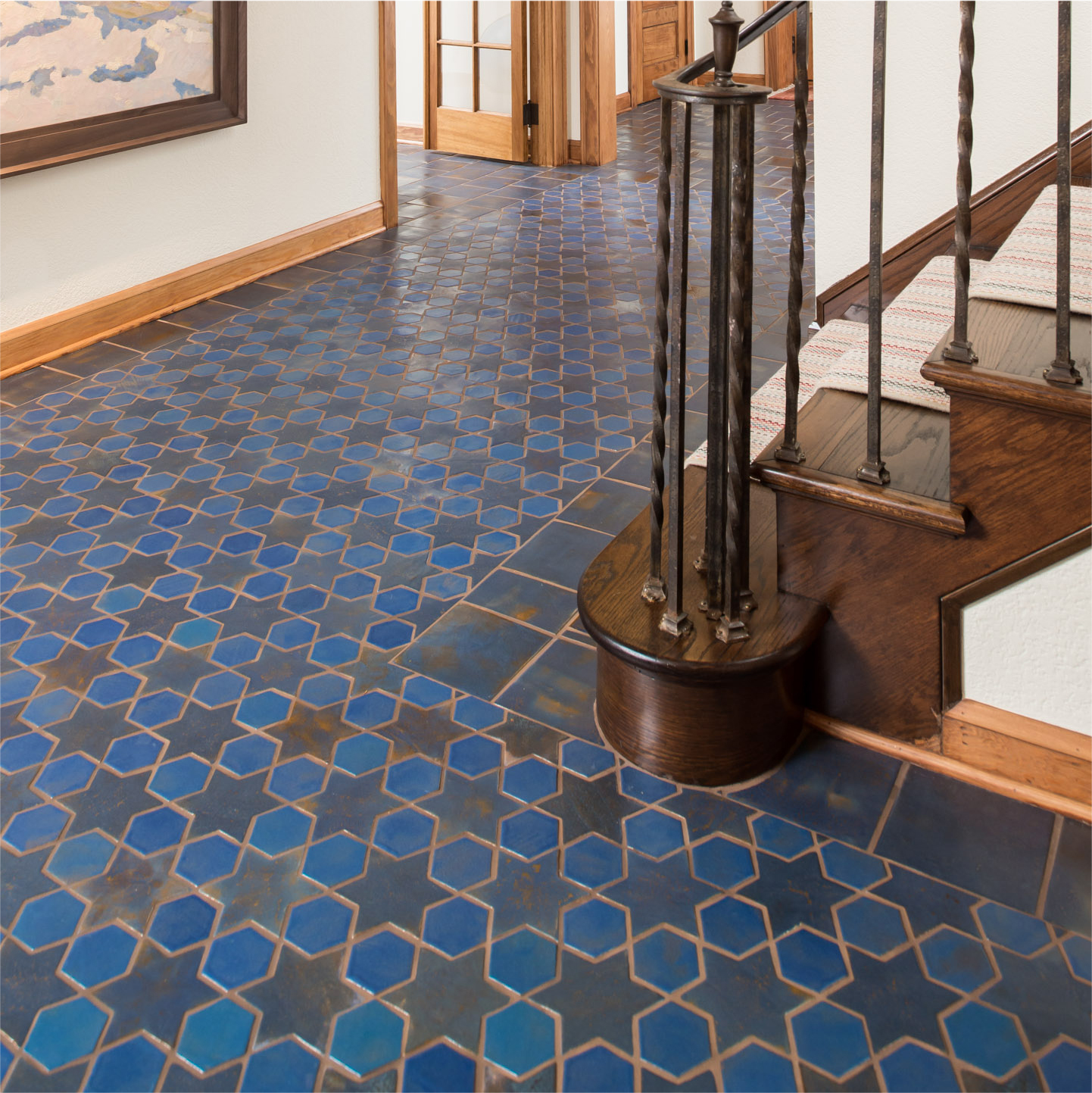 Blue Spanish Mission Floor Tile Star Hex Stair