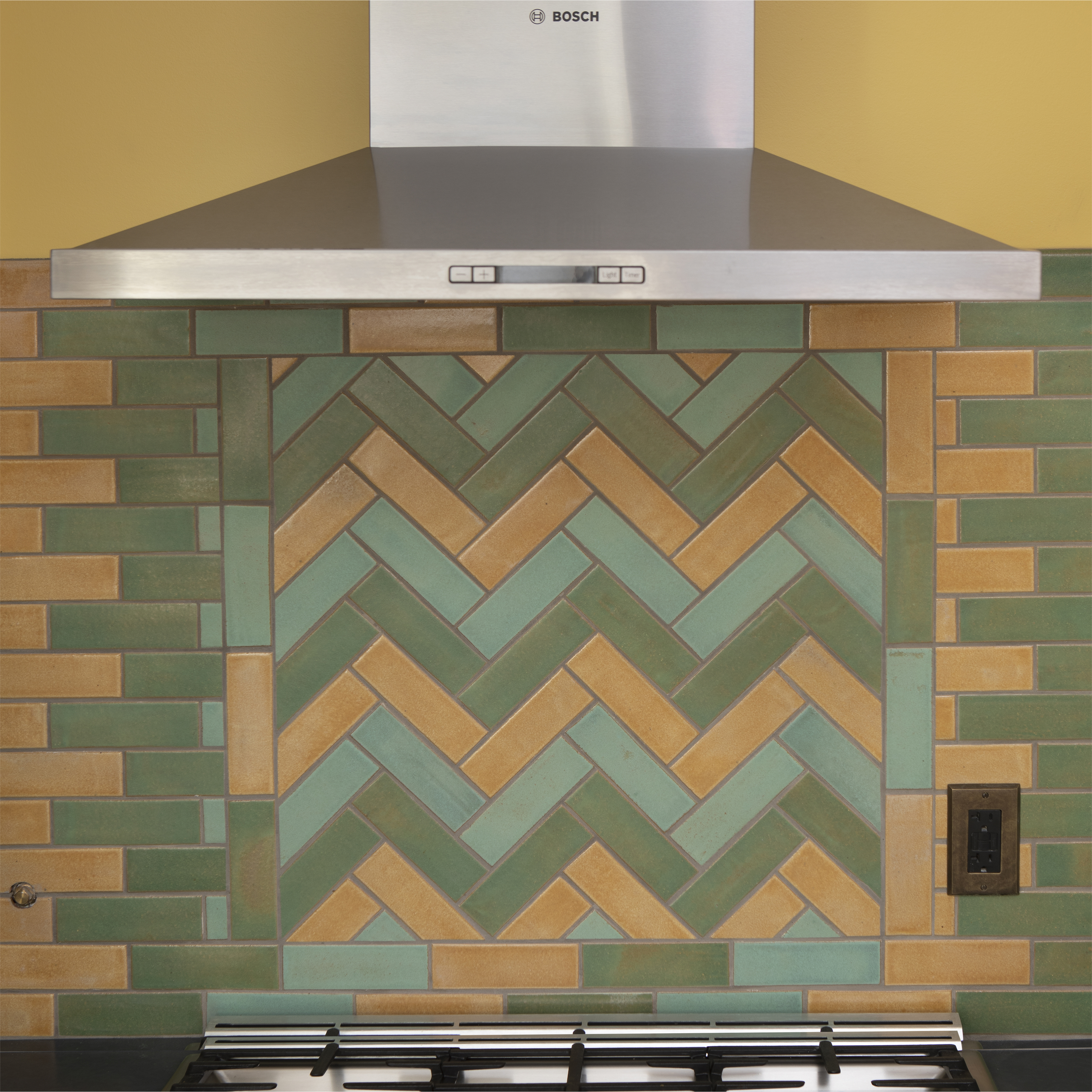 Green Yellow Arts And Crafts Kitchen Backsplash Impressionist Herringbone Three Color Kitchen Stove Backsplash