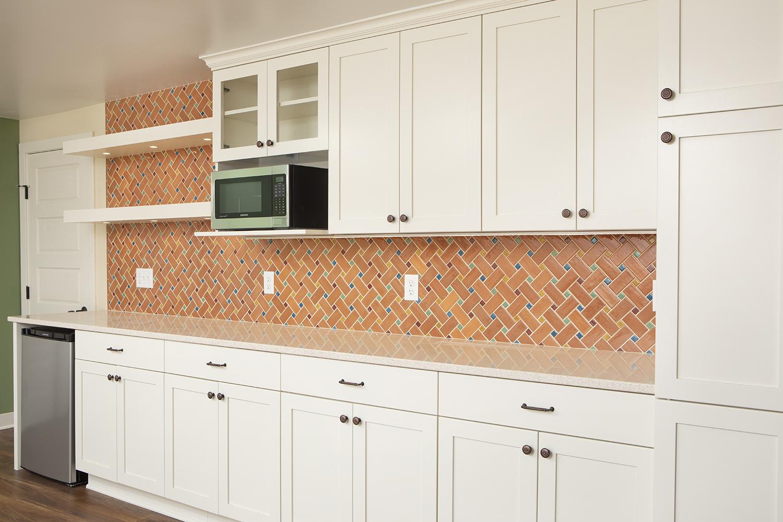 - Mid Century Modern Basketweave Tile Kitchen Backsplash