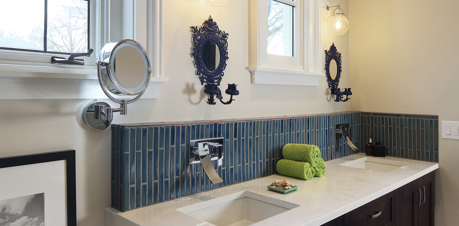 sink backsplash in blue handmade tiles