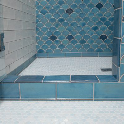 Robins Egg Blue Modern Bathroom Tile Peacock Floor Trim