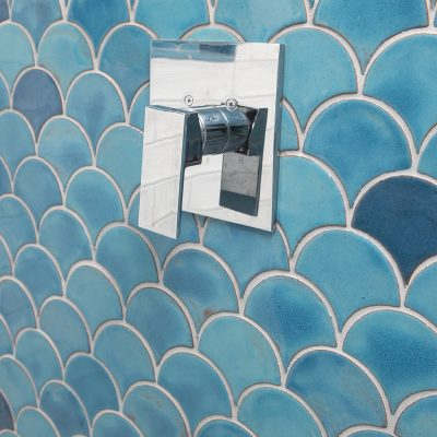 Robins Egg Blue Modern Bathroom Tile Peacock Pattern Perspective