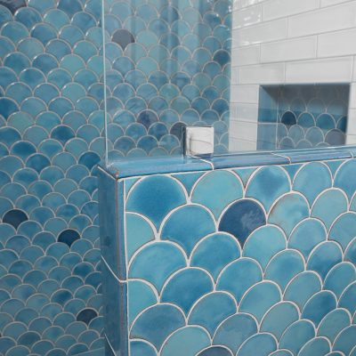 Blue Modern Bathroom Tile Peacock Perspective